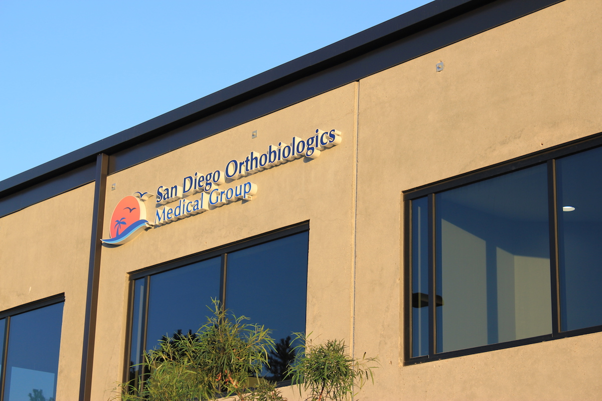 San Diego Orthobiologics Medical Group outdoor sign angled
