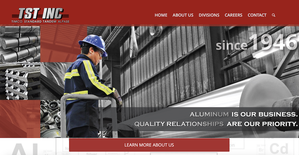TST Inc Website with worker and different types of metal