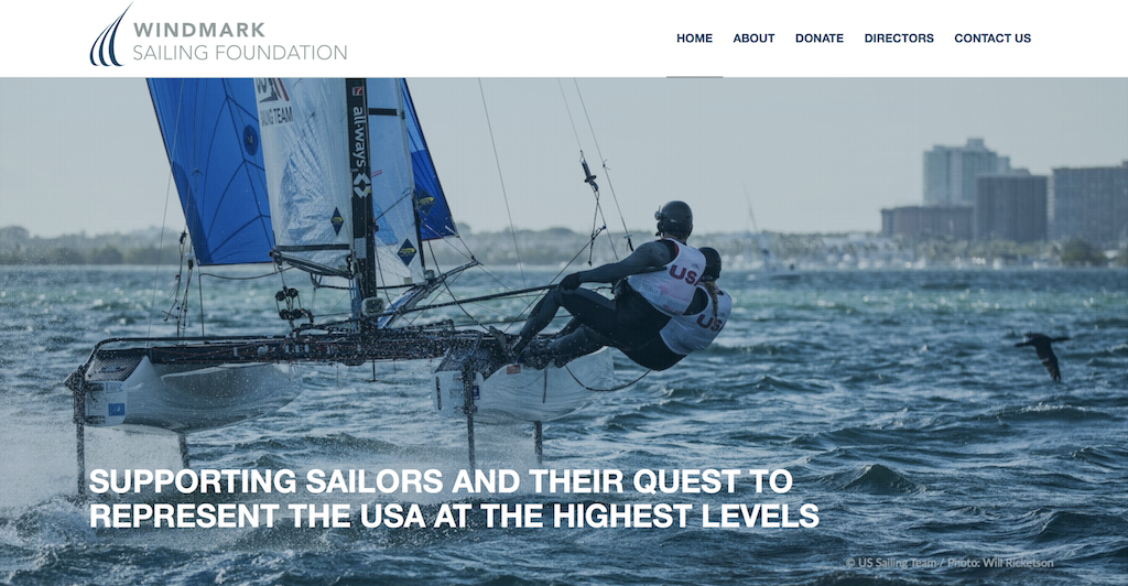 Windmark Sailing Foundation website with waves and sailboat