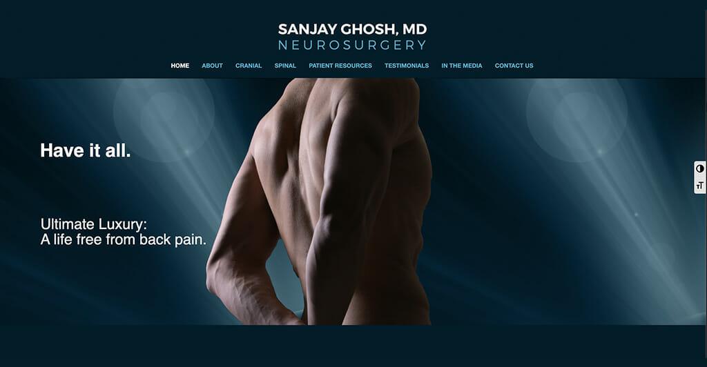 Screenshot of Dr. Sanjay Ghosh neurosurgery website