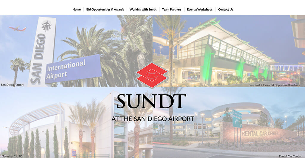 Screenshot of Sundt Construction website for airport projects